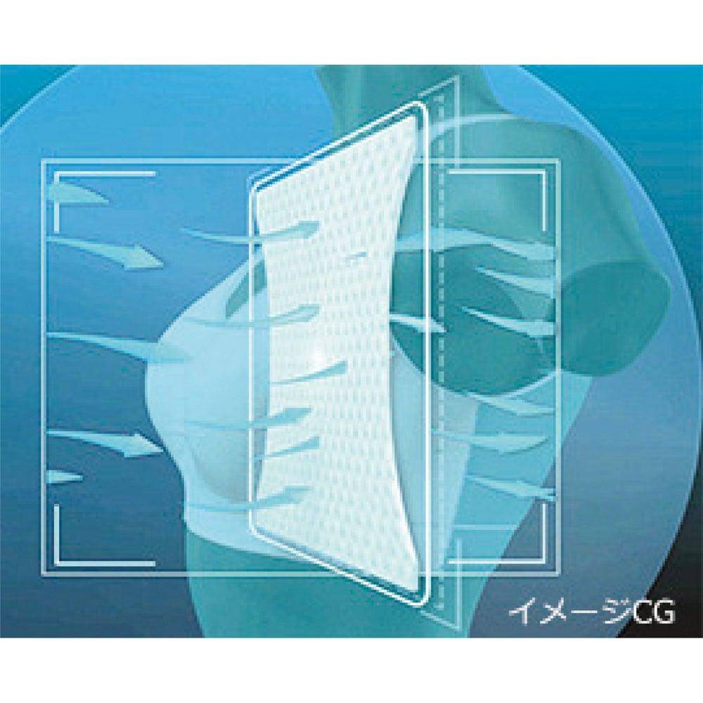 ジニエブラ エアー 《point 3》背面メッシュ構造で透湿性アップ* ジニエブラエアーは透湿性も優れた生地を使用しています。空気を外に逃がし、ブラ全体が蒸れにくく、背面もベタ付きにくいので、長時間快適に過ごせます。
