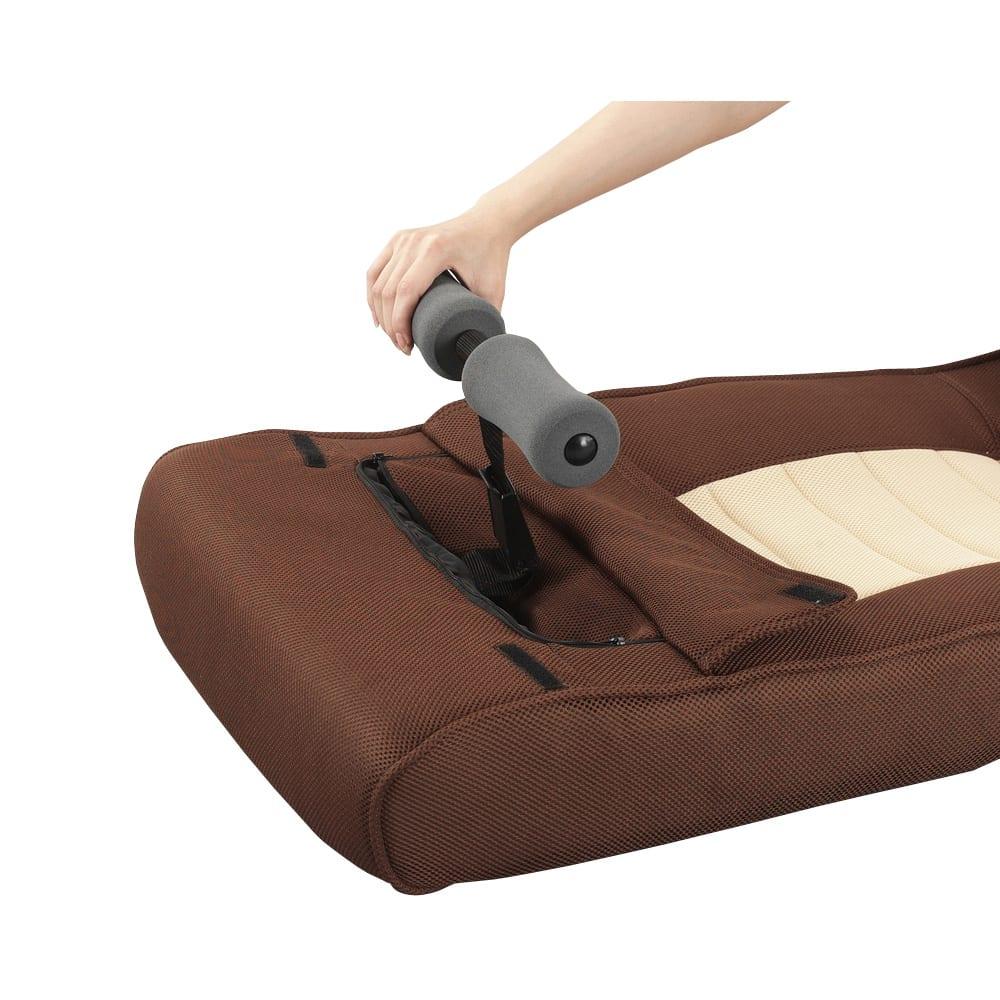 腹筋らくらく座椅子 腹筋時には、レッグバーを引き出してお使いください。