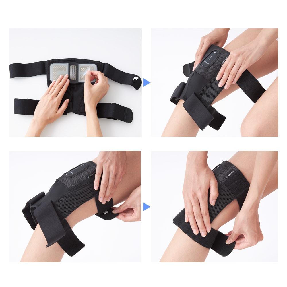 メディカラダ ひざ用EMSサポーターパッド (5)ゲルパッドの透明なフィルムを剥がす (6)ひざの上に当てる (7)太もものベルトを巻く (8)ふくらはぎのベルトを巻く