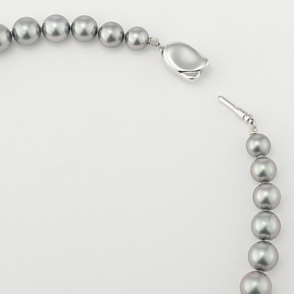 タヒチ リキティア グレーパール ネックレス&イヤリング・ピアスセット ネックレスは差込式