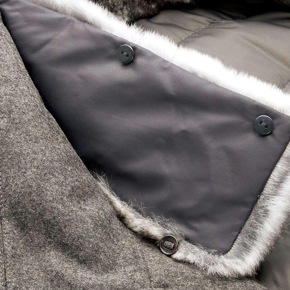 コロンボ社 オリラグファー付き ダウンコート ファーはボタンで着脱