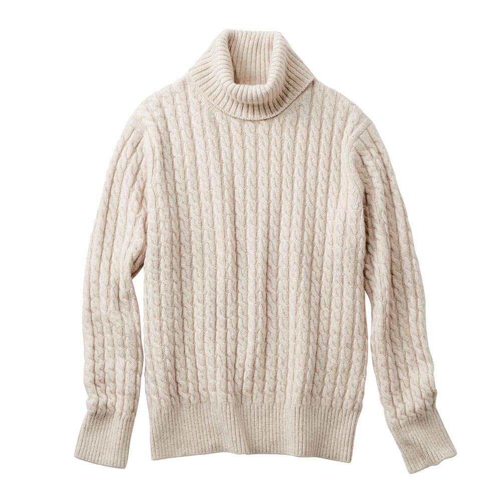 イタリア糸 カシミヤ ケーブル編み タートルネック プルオーバー (イ)オフベージュ
