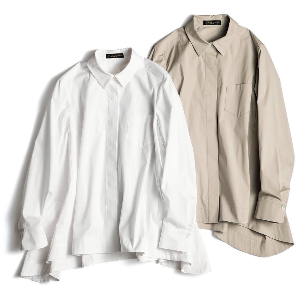 コットンブロード 裾フレア 比翼ボタン シャツ 左から (イ)ホワイト (ア)ライトトープ