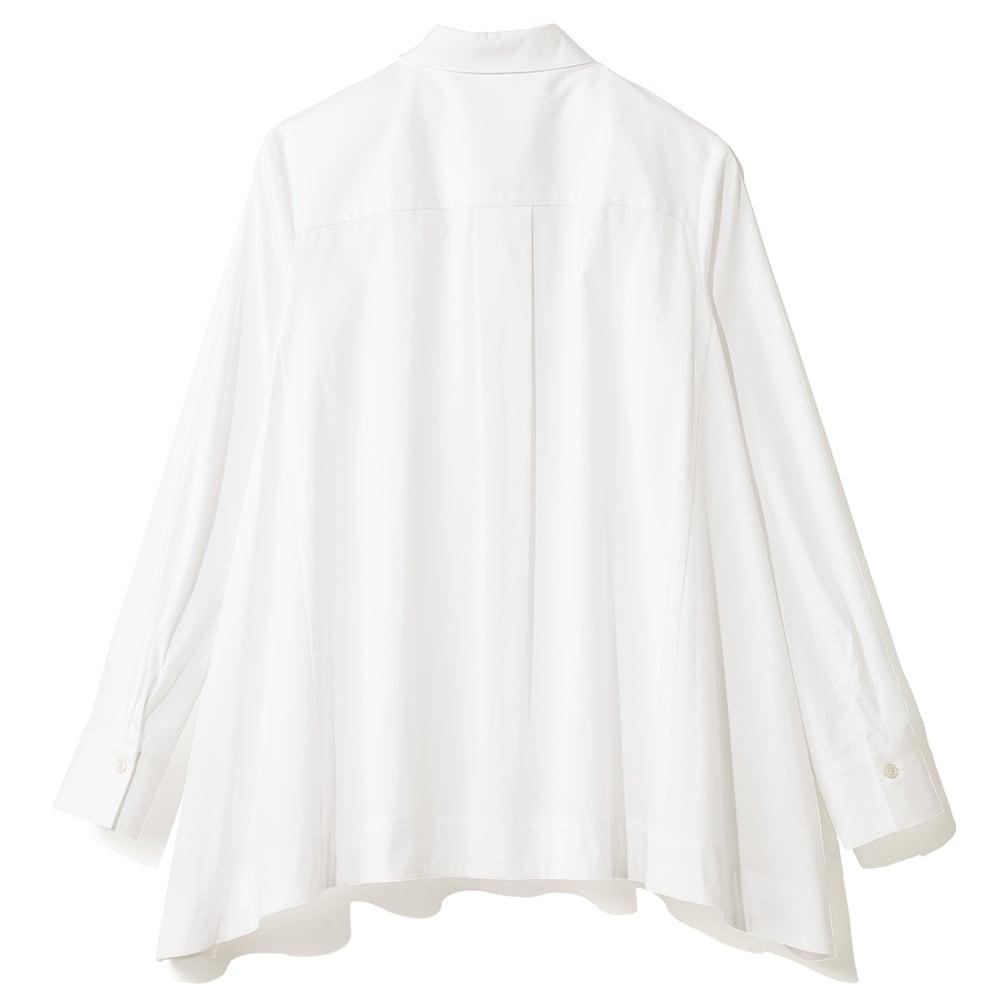 コットンブロード 裾フレア 比翼ボタン シャツ (イ)ホワイト BACK