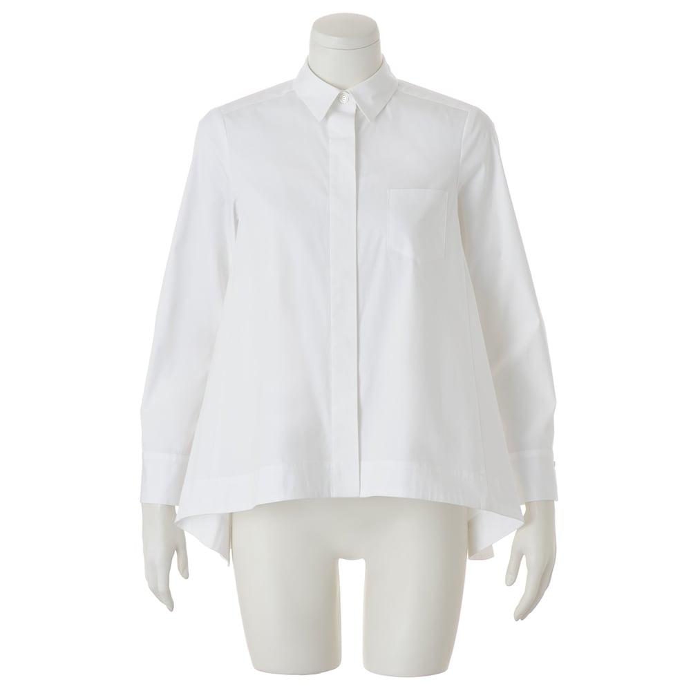 コットンブロード 裾フレア 比翼ボタン シャツ (イ)ホワイト