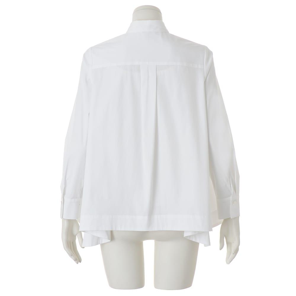 コットンブロード 裾フレア 比翼ボタン シャツ