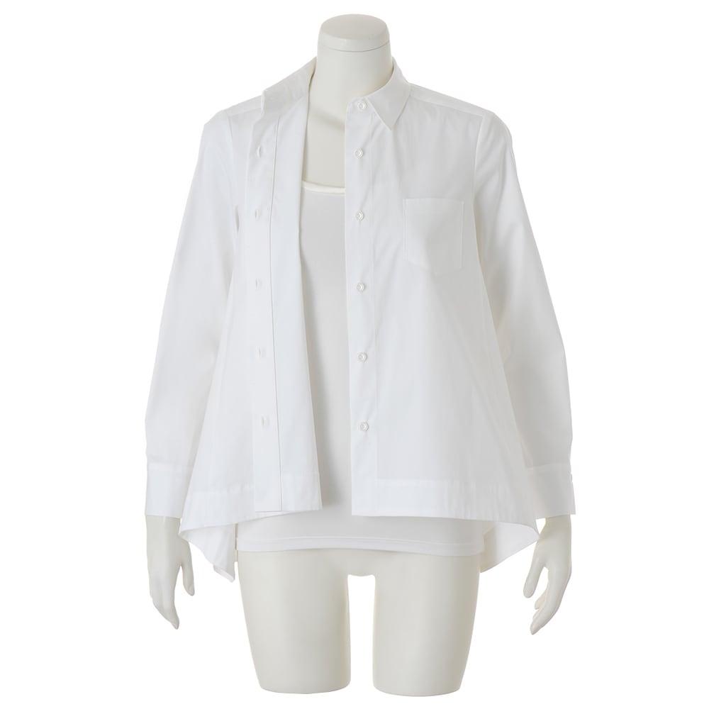コットンブロード 裾フレア 比翼ボタン シャツ ※インナーは含まれません。