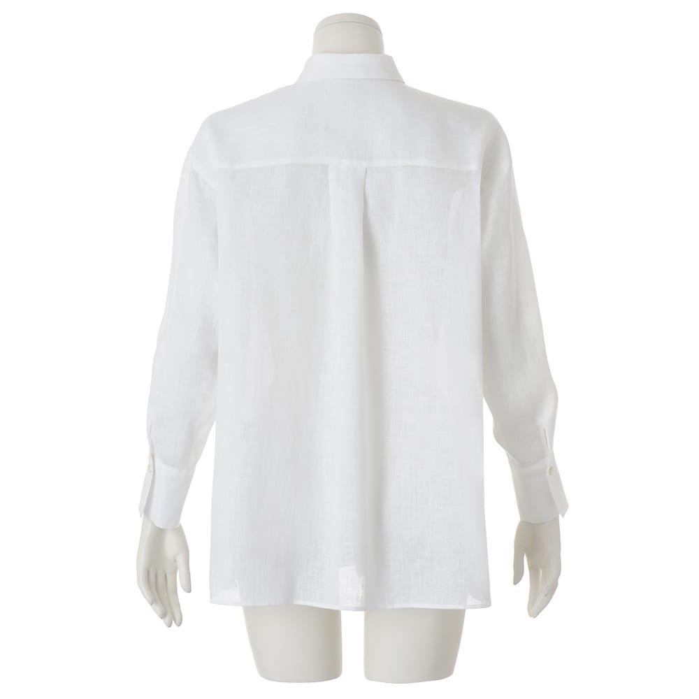 リネン タックデザイン 比翼ボタン シャツ