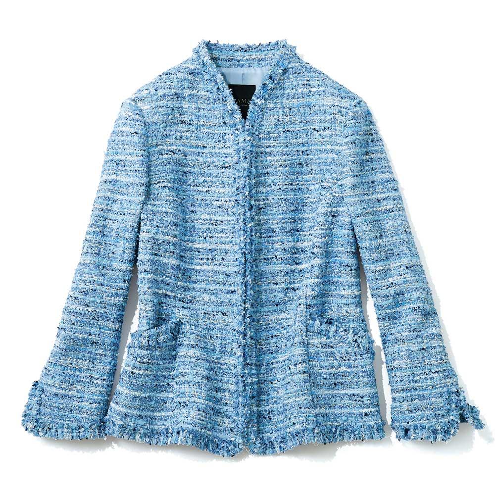 マリア・ケント社 ブルーツイード ジャケット 前端を立てて突き合わせにした立体的な留め方