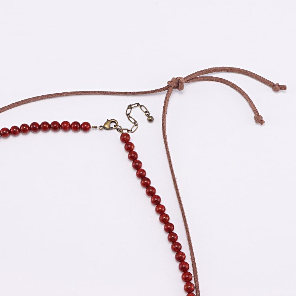 YUKIKO OKURA/ユキコ・オオクラ オオイソバナ珊瑚 ロング ネックレス&ペンダントセット ネックレスはアジャスターチェーン付き