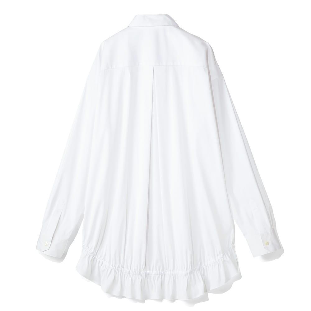 バックフリルデザイン シャツ (ア)オフホワイト BACK