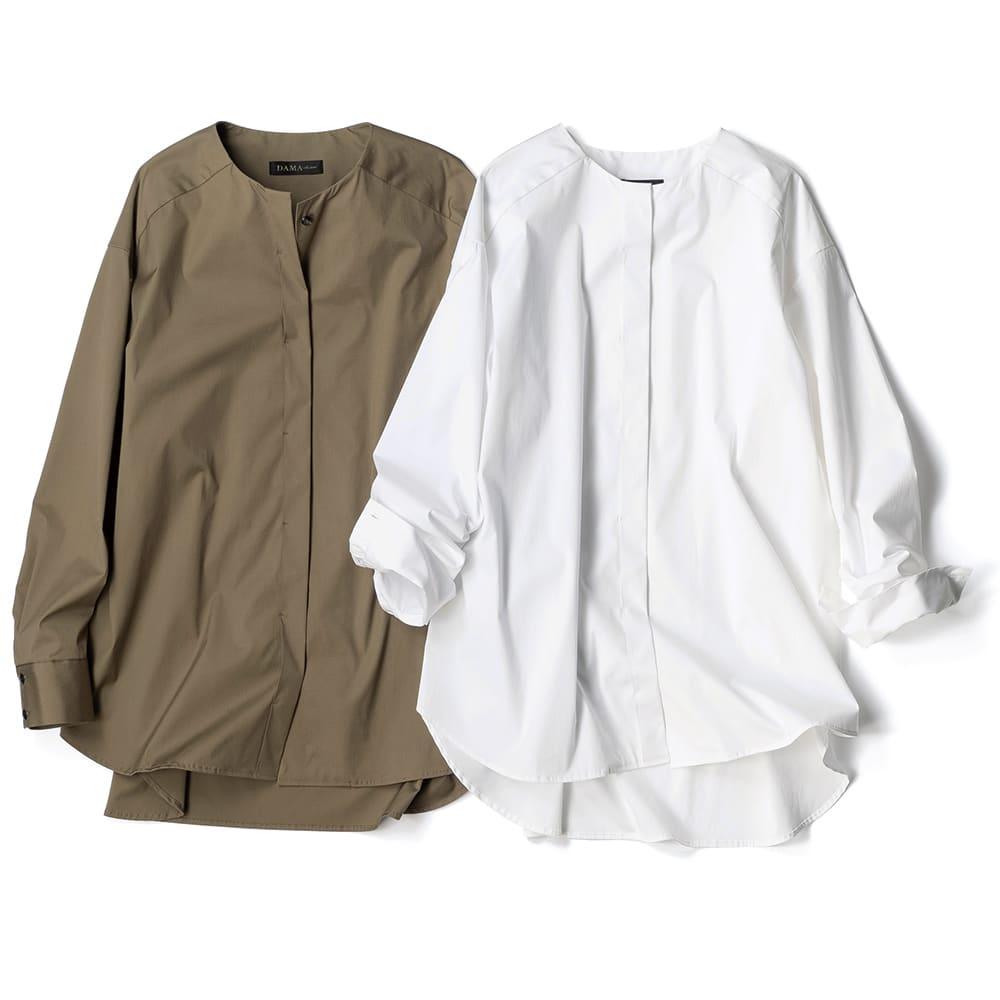 コットンブロード ノーカラー シャツ 左から (ア)カーキ (イ)ホワイト