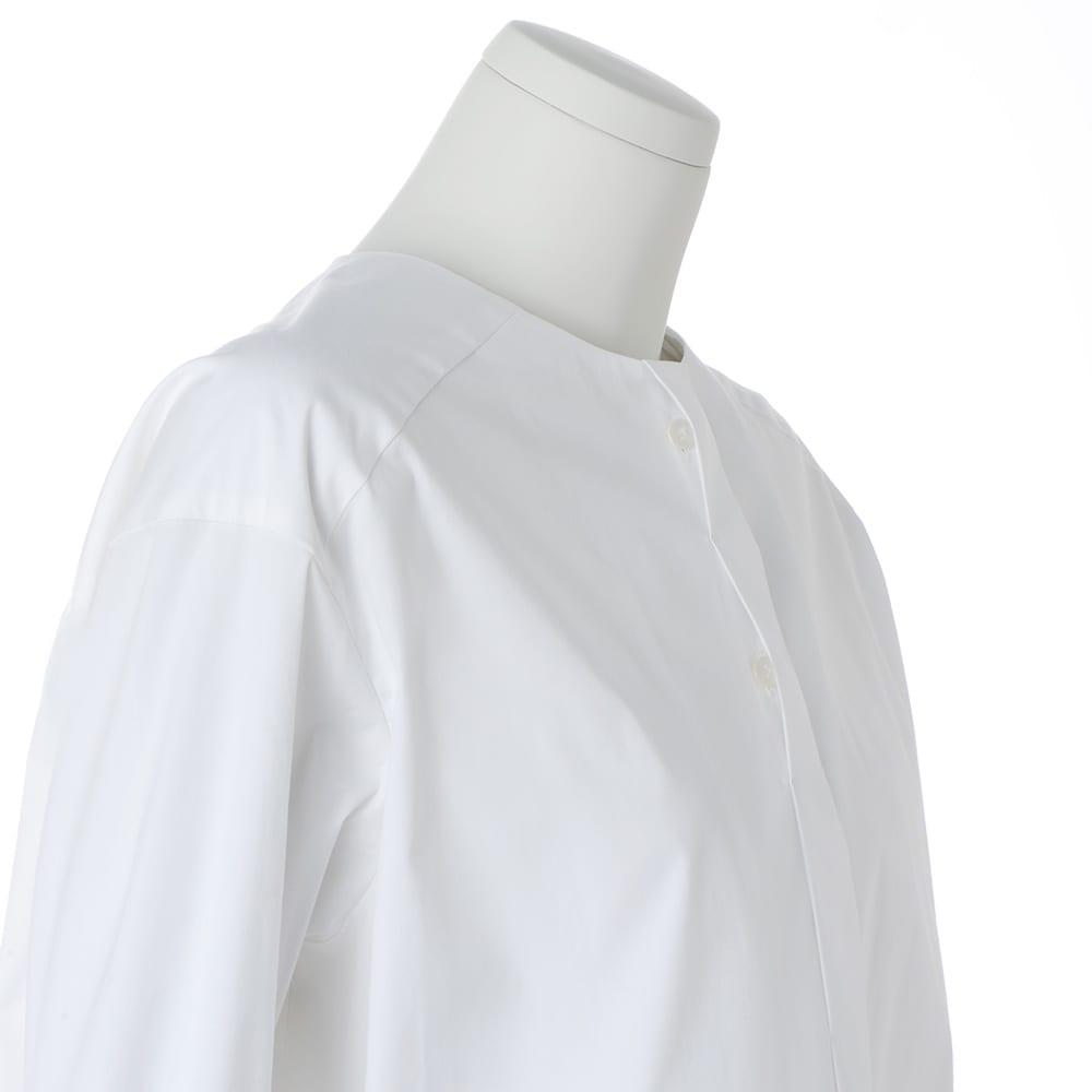 コットンブロード ノーカラー シャツ