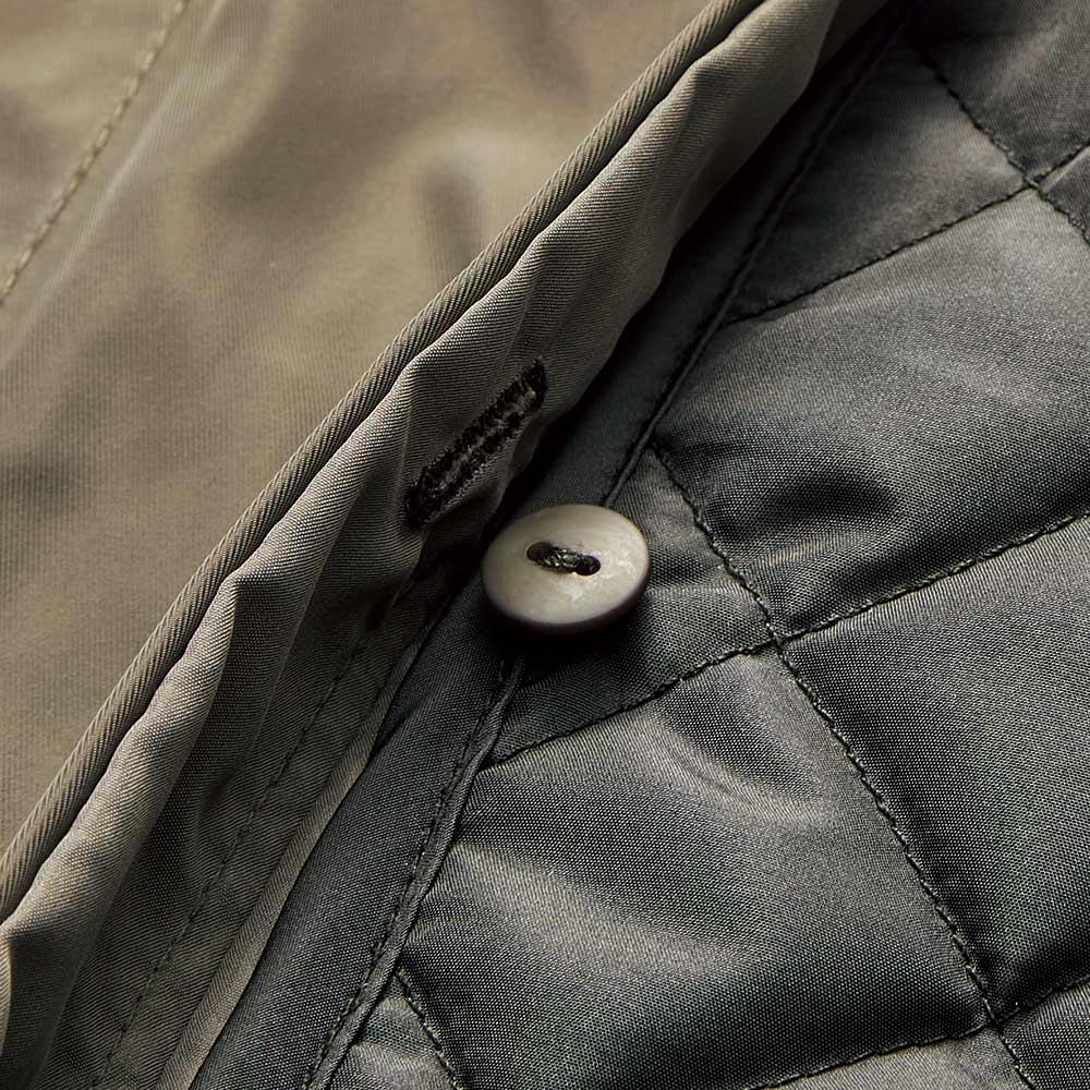中わたライナー・フォックスファー付き はっ水加工 モッズ風コート ライナーはボタンで取り外し可