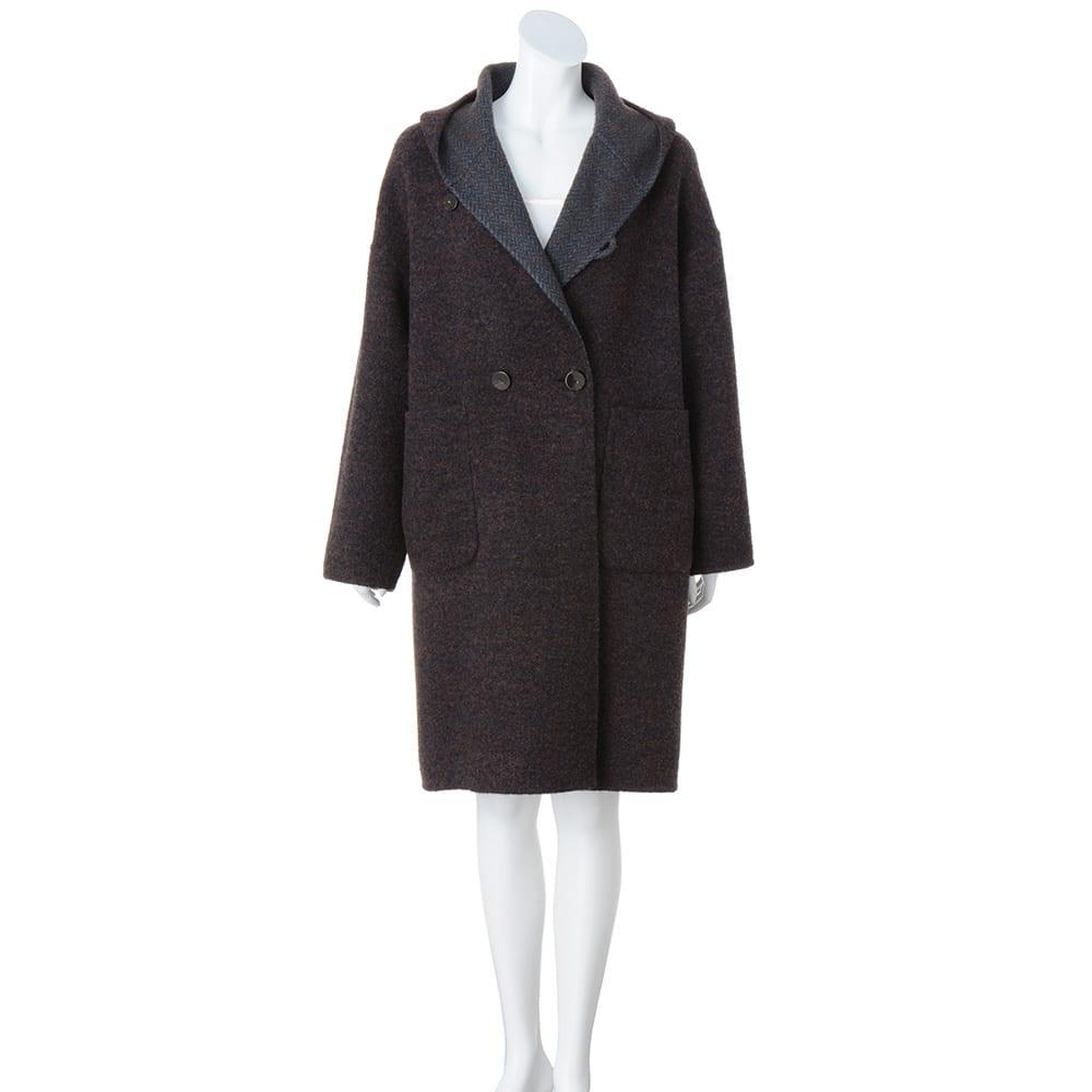 ロロ・ピアーナ社 生地使用 フーデッド リバーシブル コート ブークレツイード面   ※インナーは含まれません。