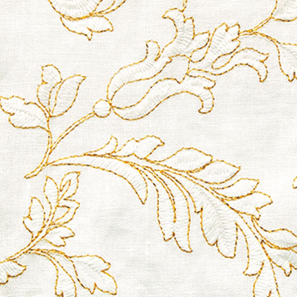 イタリア素材 フロント刺繍 リネン シャツ 生地アップ