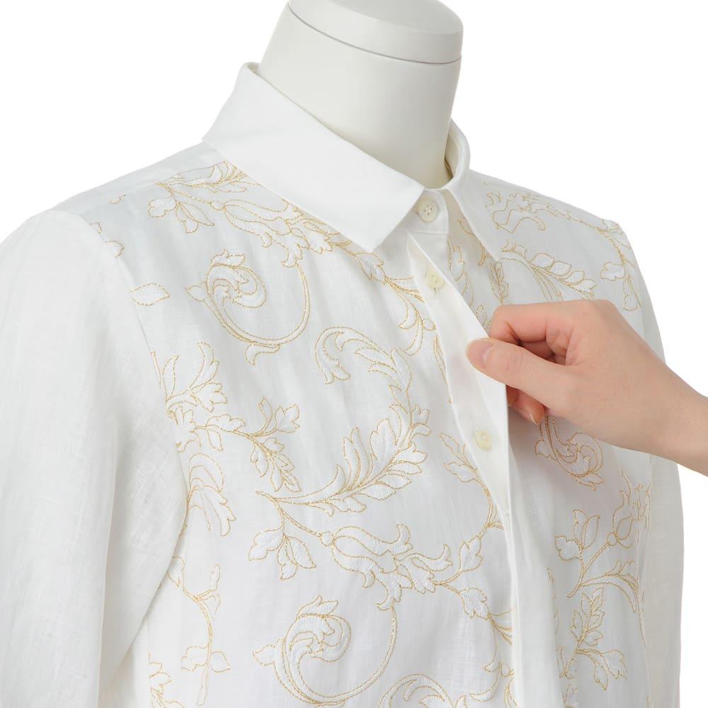 イタリア素材 フロント刺繍 リネン シャツ