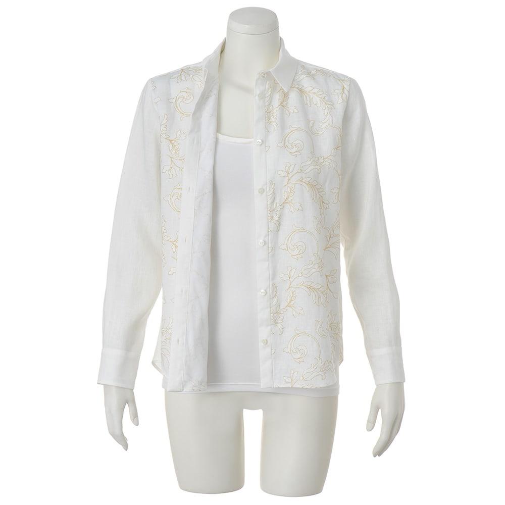イタリア素材 フロント刺繍 リネン シャツ ※インナーは含まれません