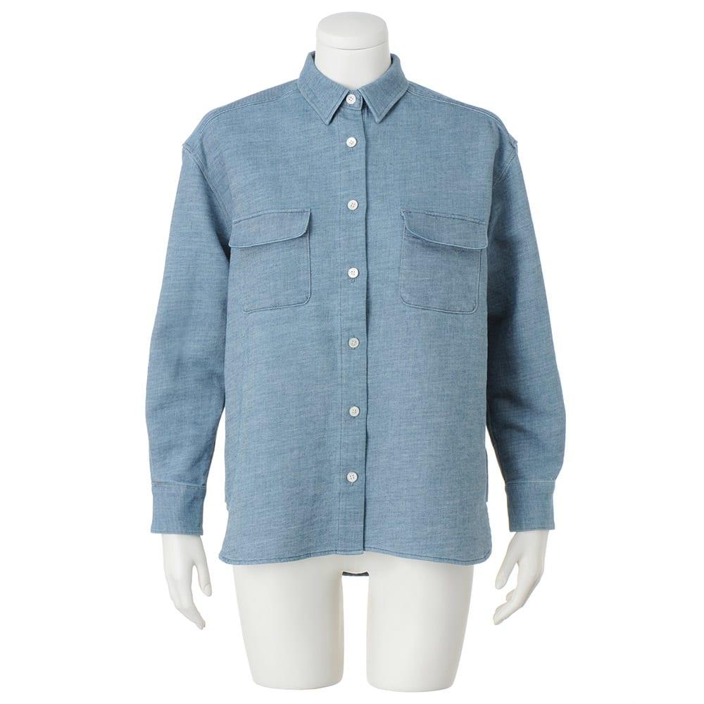 バイオ加工 二重織り デニムシャツ