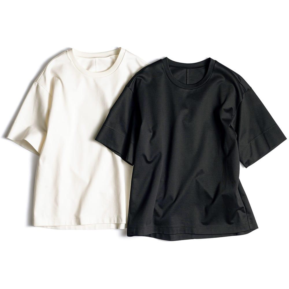 シルケット コットンジャージー Tシャツ 左から (イ)オフホワイト (ウ)ブラック