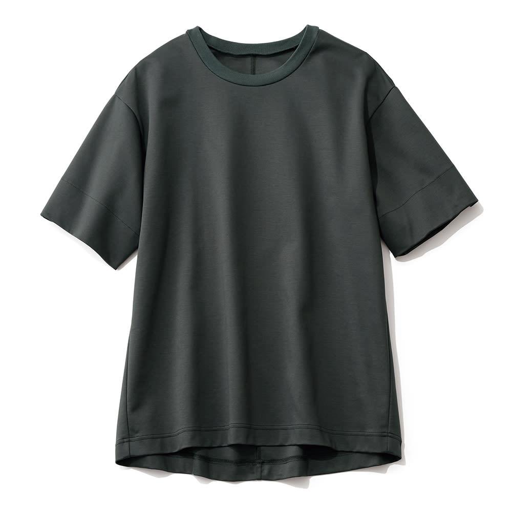 シルケット コットンジャージー Tシャツ (ウ)ブラック