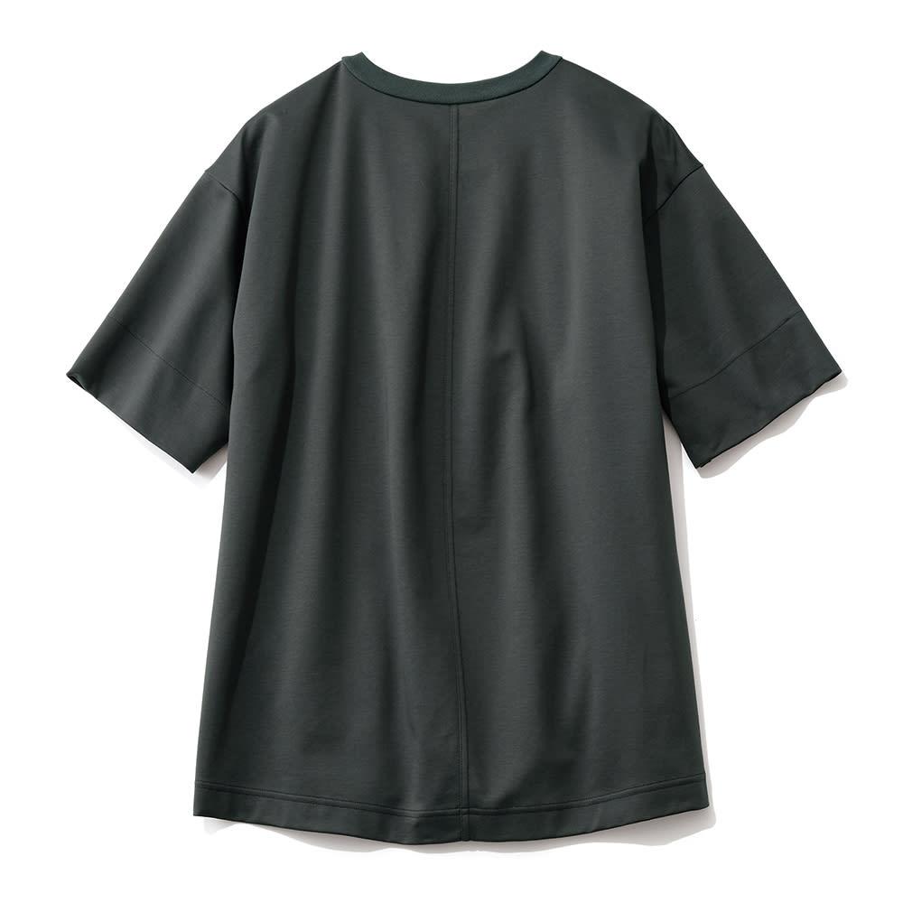 シルケット コットンジャージー Tシャツ (ウ)ブラック BACK