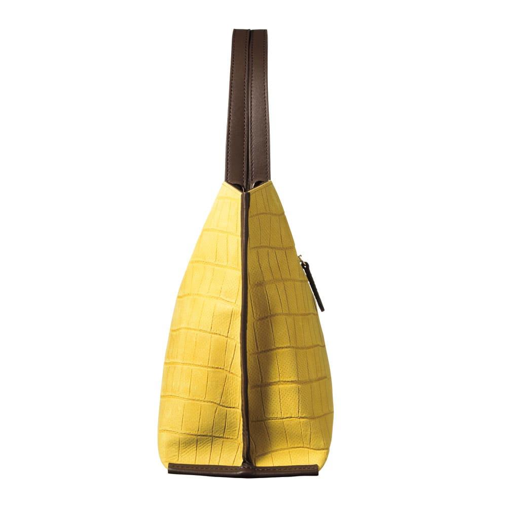 NAGATANI/ナガタニ イタリアンレザー ヌバック クロコ型押し トートバッグ SIDE