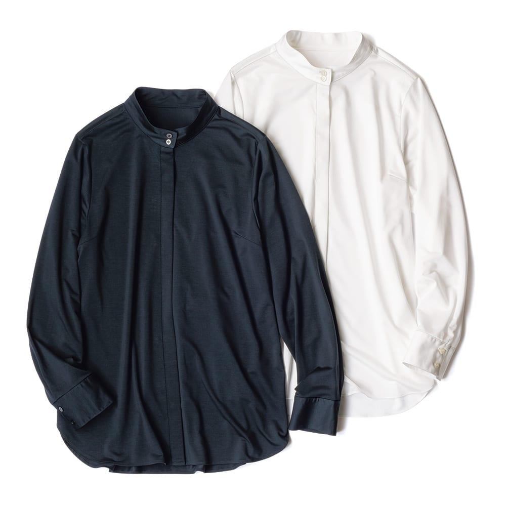バンドカラー ジャージー シャツ 左から (イ)ダークネイビー (ア)ホワイト
