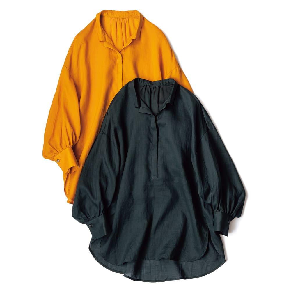 ラミー ボリュームシャツ 上から (ア)マンダリンオレンジ (イ)ダークグリーン