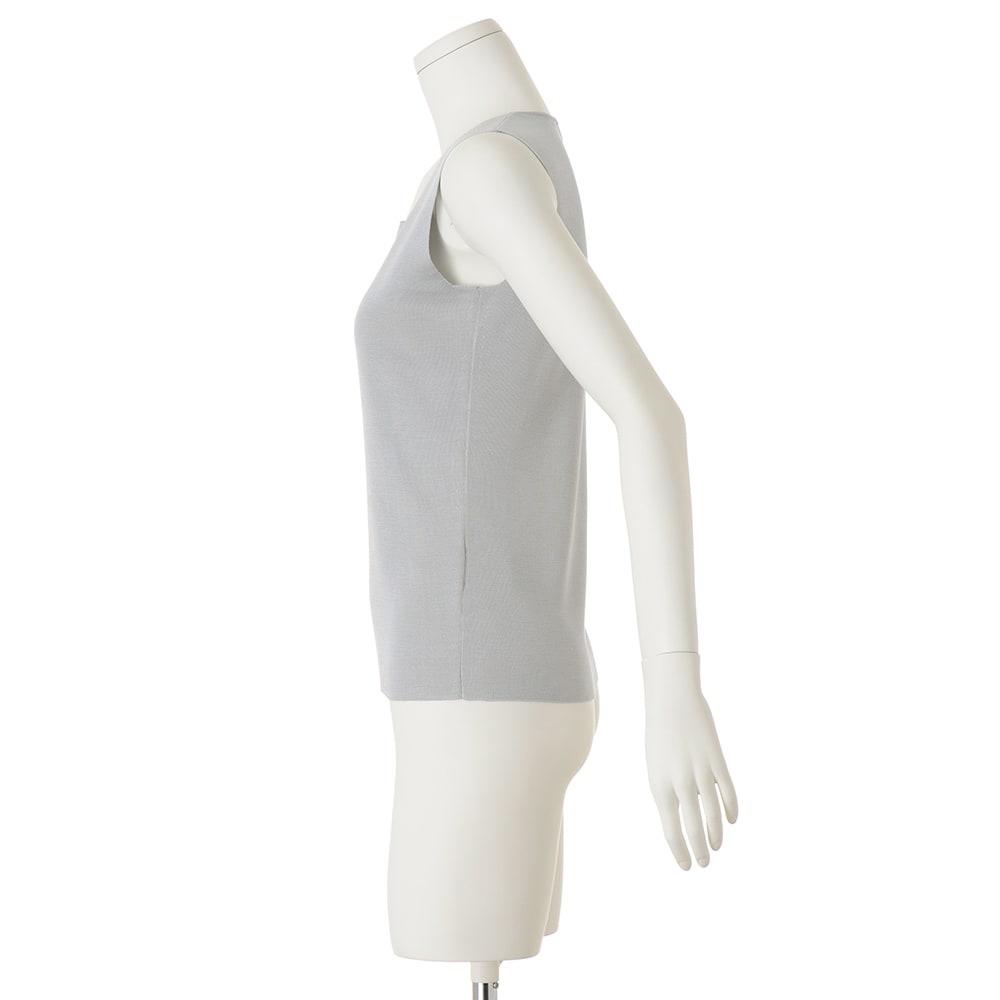 シルク 総針編み スクエアネック タンクトップ (イ)アイスグレー