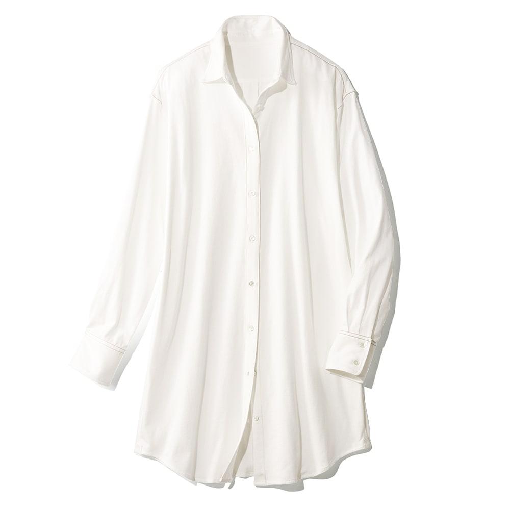 「スマイルコットン」 度詰め天竺 ロングシャツ