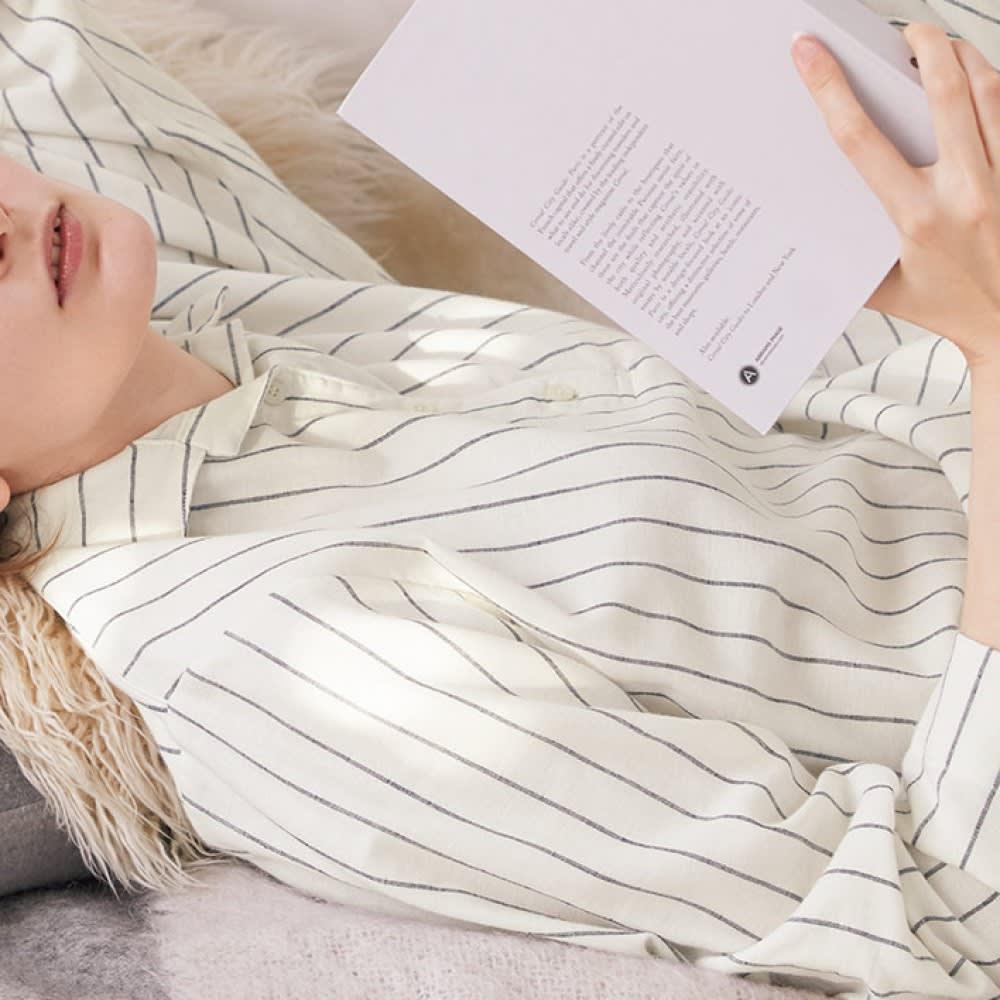 コットンシルク 二重ガーゼ シャツパジャマ コーディネート例