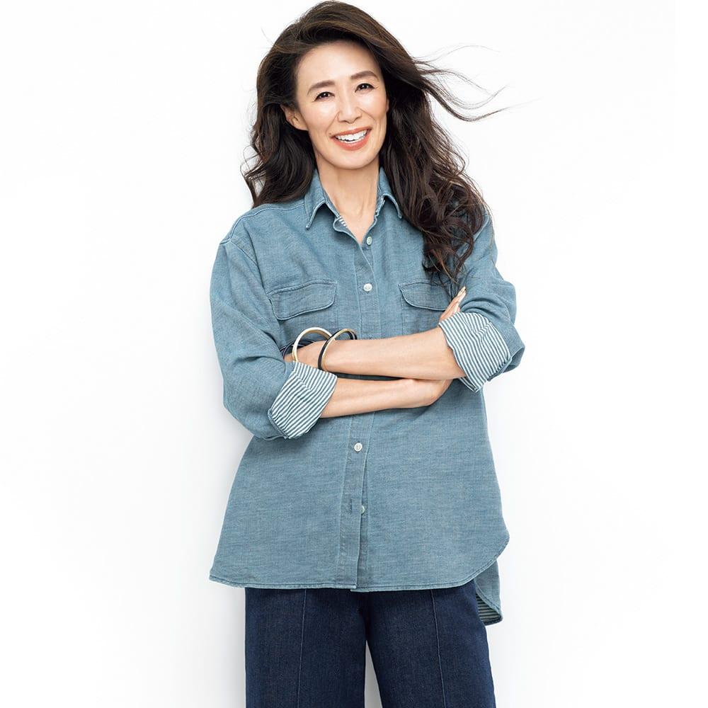 バイオ加工 二重織り デニムシャツ コーディネート例