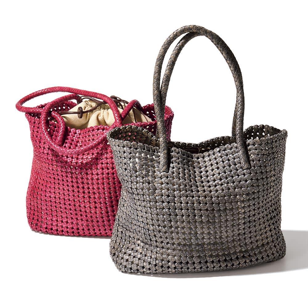 ゴートレザー 玉編み メッシュ トートバッグ 左から (イ)ピンク (ア)グレー