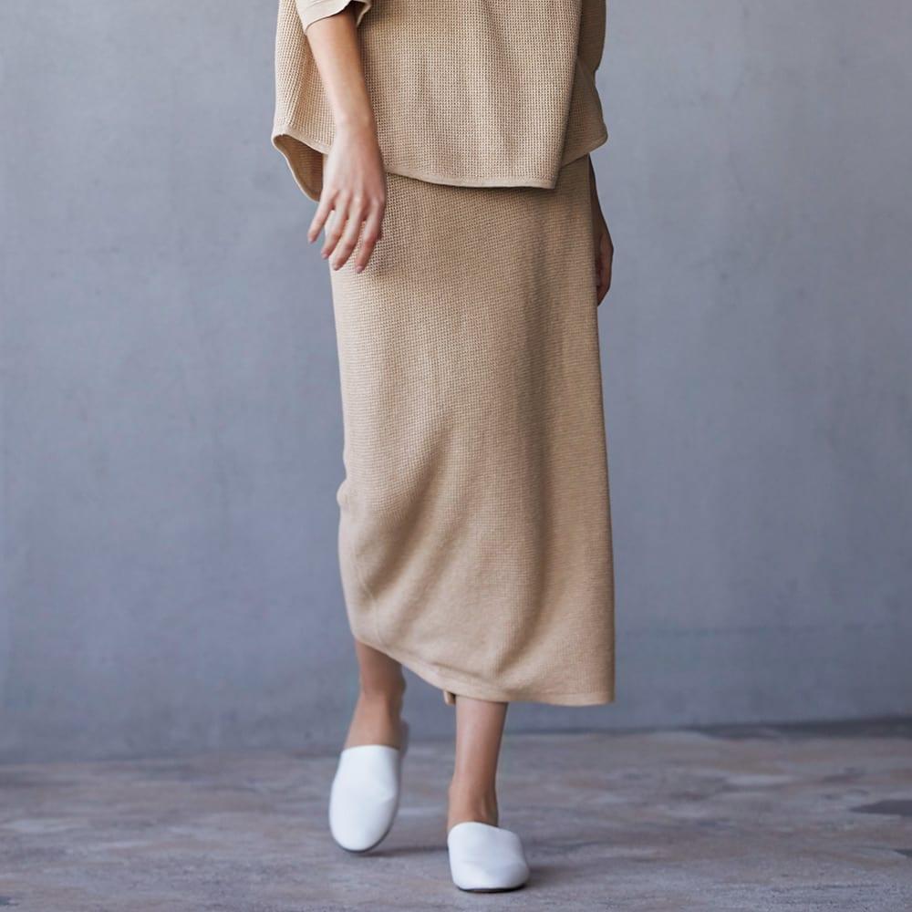 シルク混 ワッフル柄編 シリーズ スカート 着用例