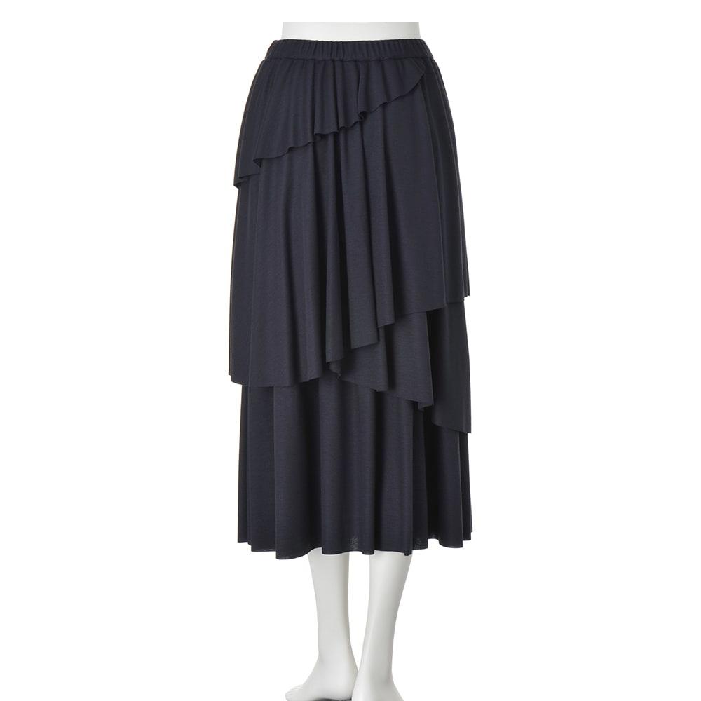 ジャージー素材 ティアードロングスカート