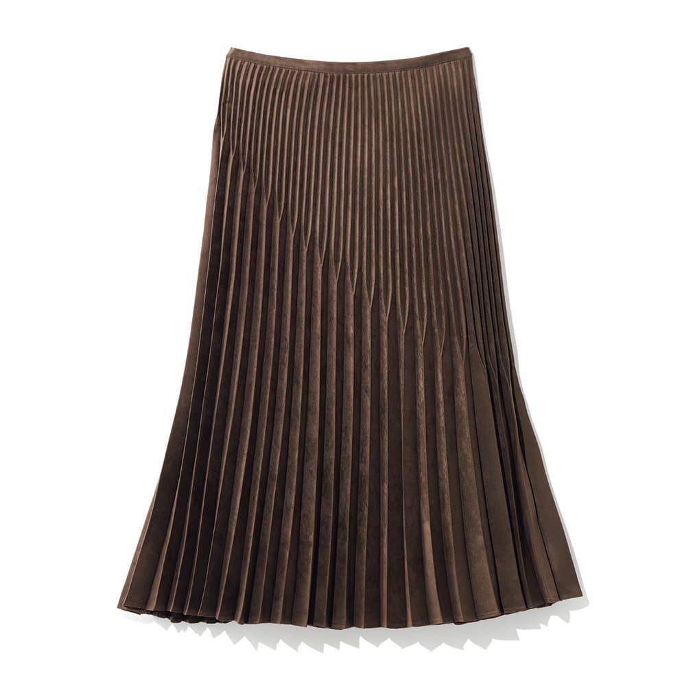 フェイクスエード 変形テーパード型 プリーツスカート (ア)ブラウン