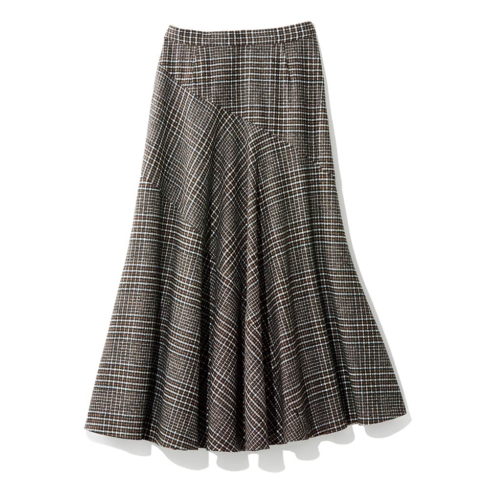 イタリア素材 チェック切り替えフレアスカート