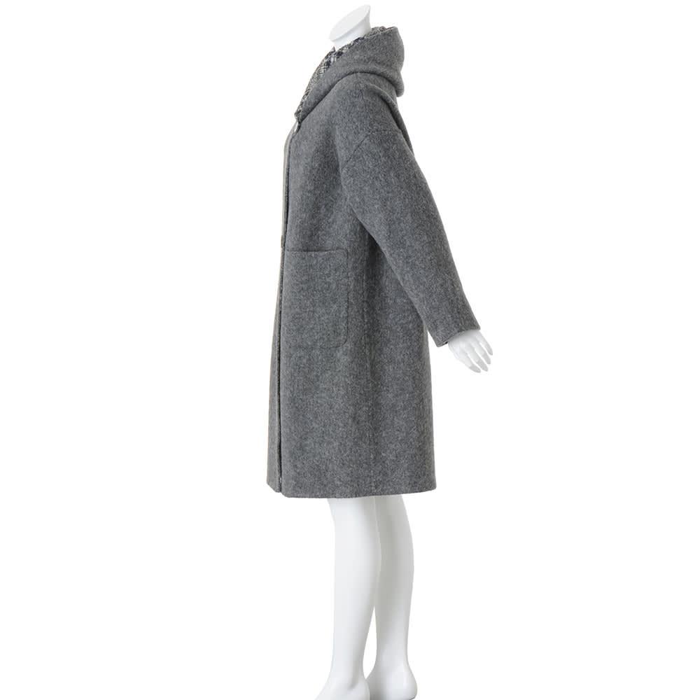 フェルラ社 アルパカ混 リバーシブル フーデッドコート(イタリア製)