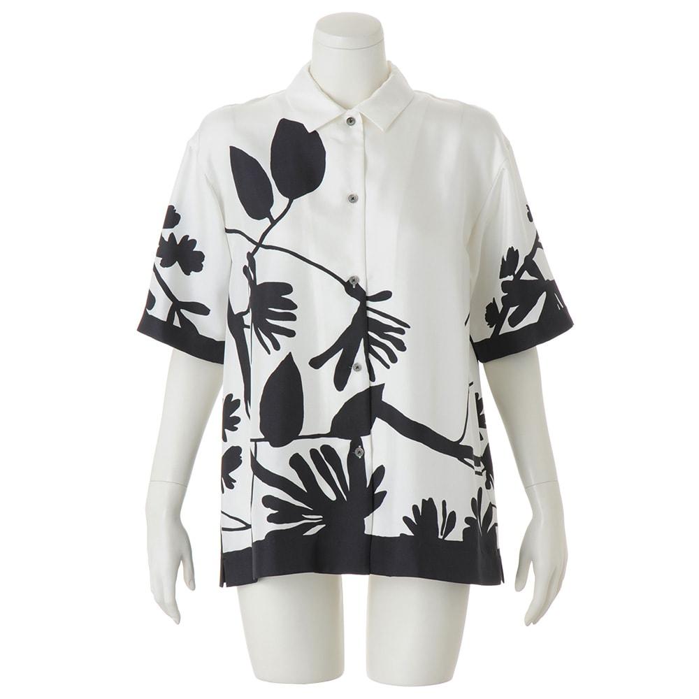 シルクツイル ボタニカルプリント シャツ