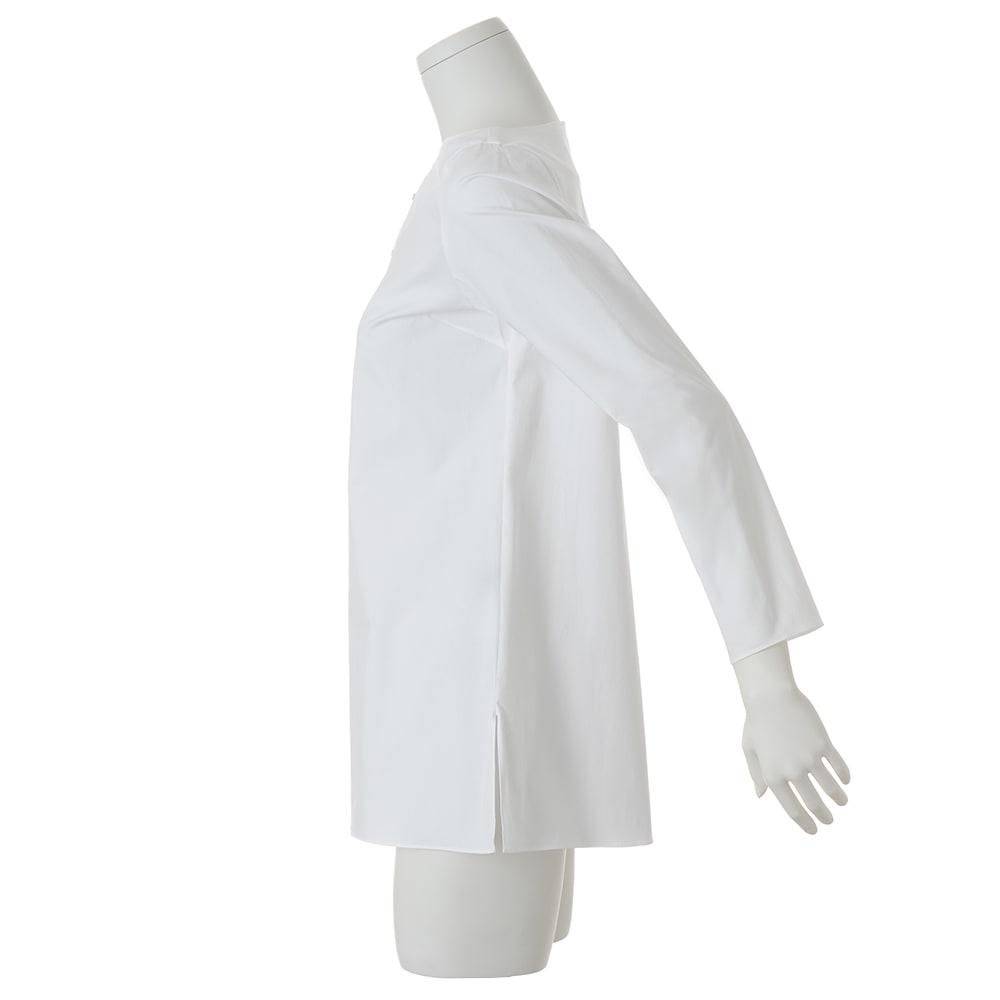 コットンブロード 飾りホック付き シャツ