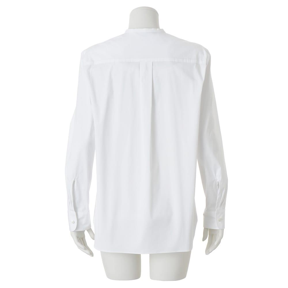 比翼仕立て ノーカラー シャツ (ア)ホワイト