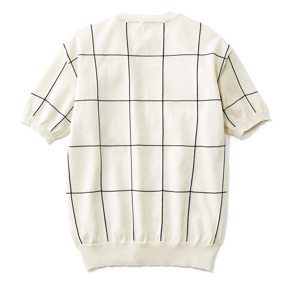イタリア糸 インターシャ編み チェック プルオーバー BACK
