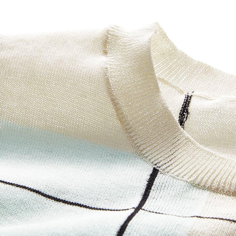 イタリア糸 インターシャ編み チェック プルオーバー 襟ぐり