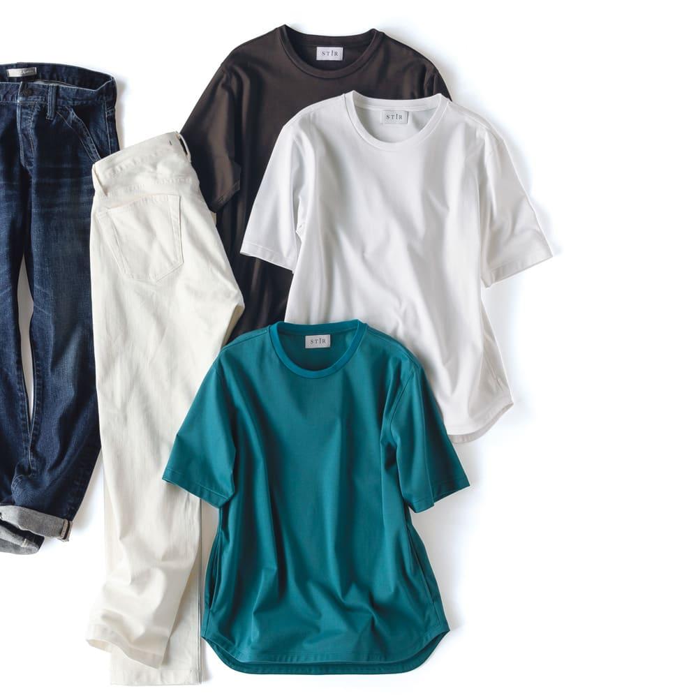 STIR/スティア ハイゲージスムース Tシャツ 上から (ア)ダークブラウン (イ)オフホワイト (ウ)ターコイズ ※デニムは別売りの商品です。