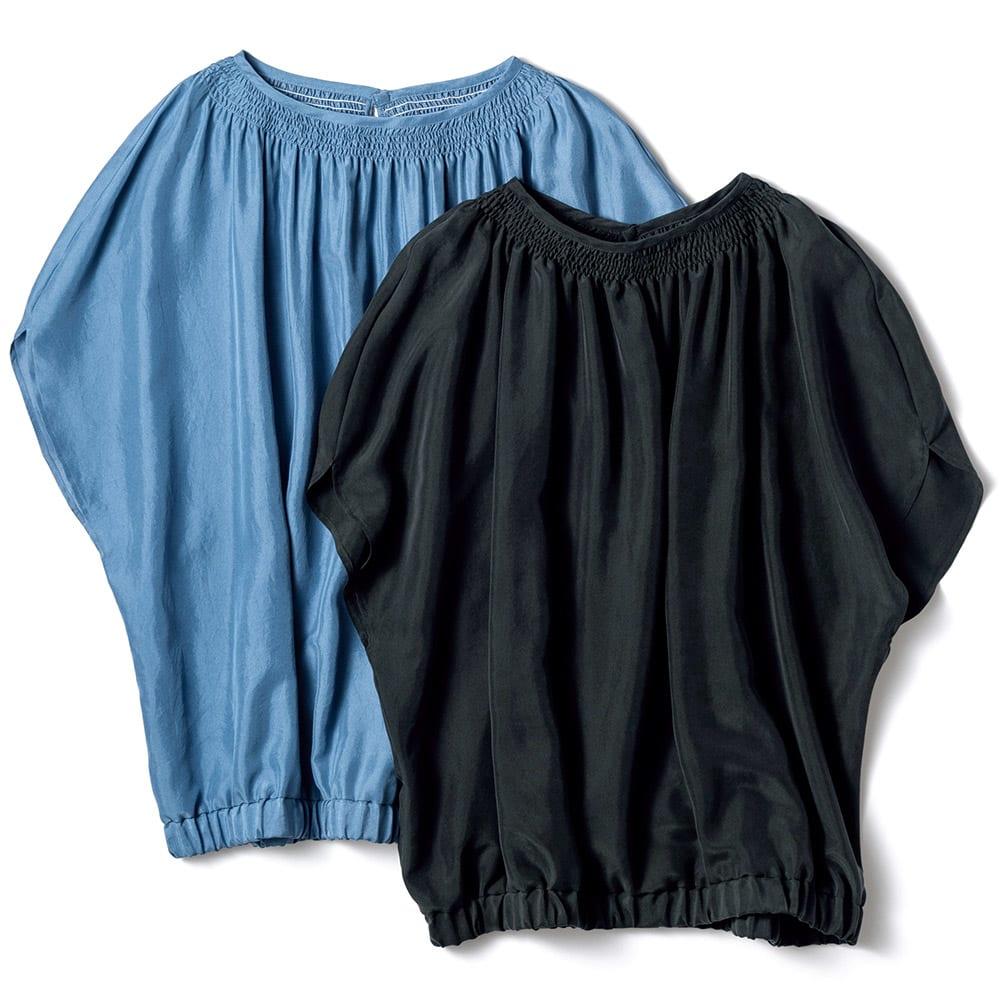シルク素材 シャーリング ブラウス 左から (ア)ライトブルー (イ)ブラック