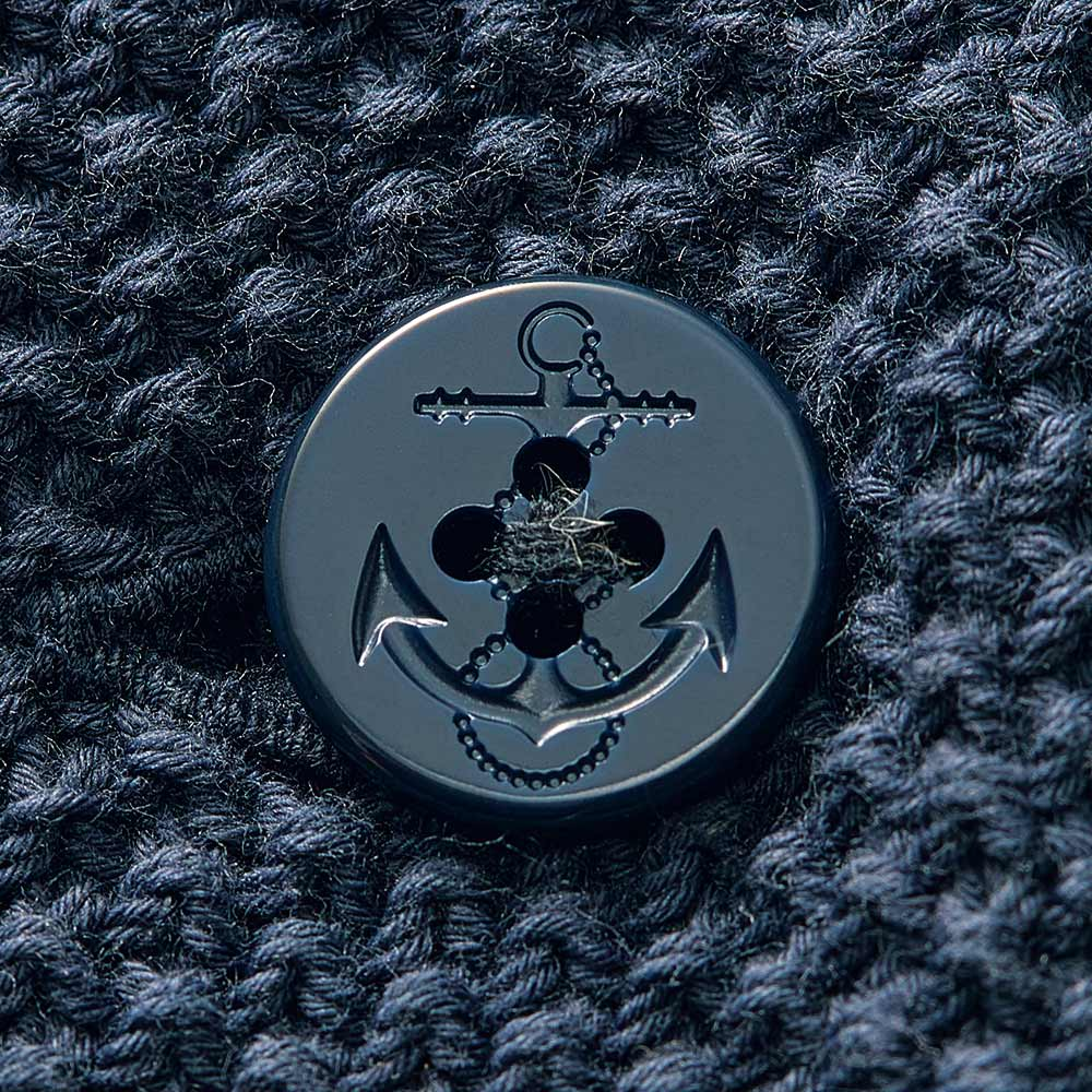鹿の子ニット ダブルブレスト カーディガン ボタン部分