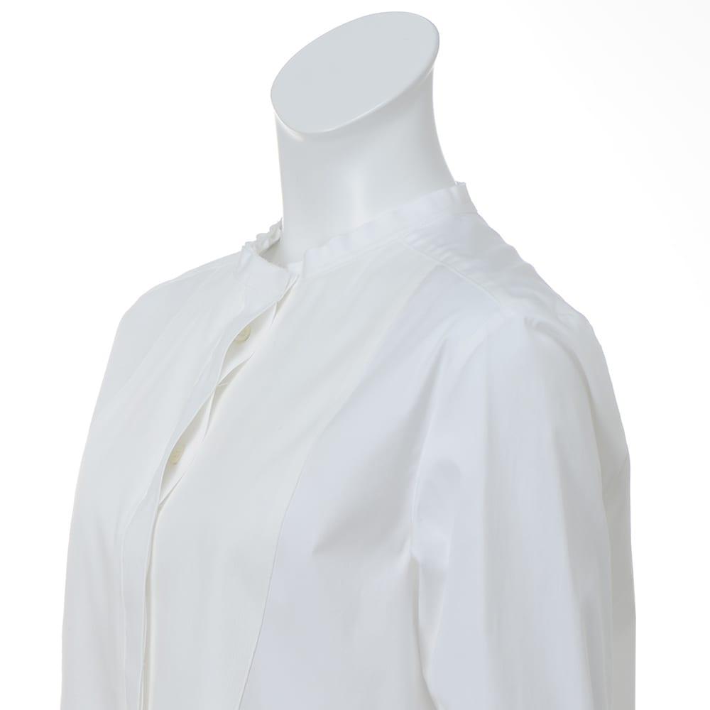 異素材切り替え 比翼仕立て ロングシャツ