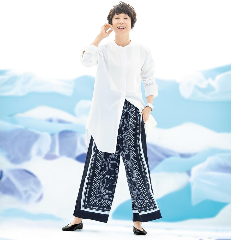異素材切り替え 比翼仕立て ロングシャツ コーディネート例 /ドレスアップ・シャツとプリントパンツで、ただモノじゃないマリン。