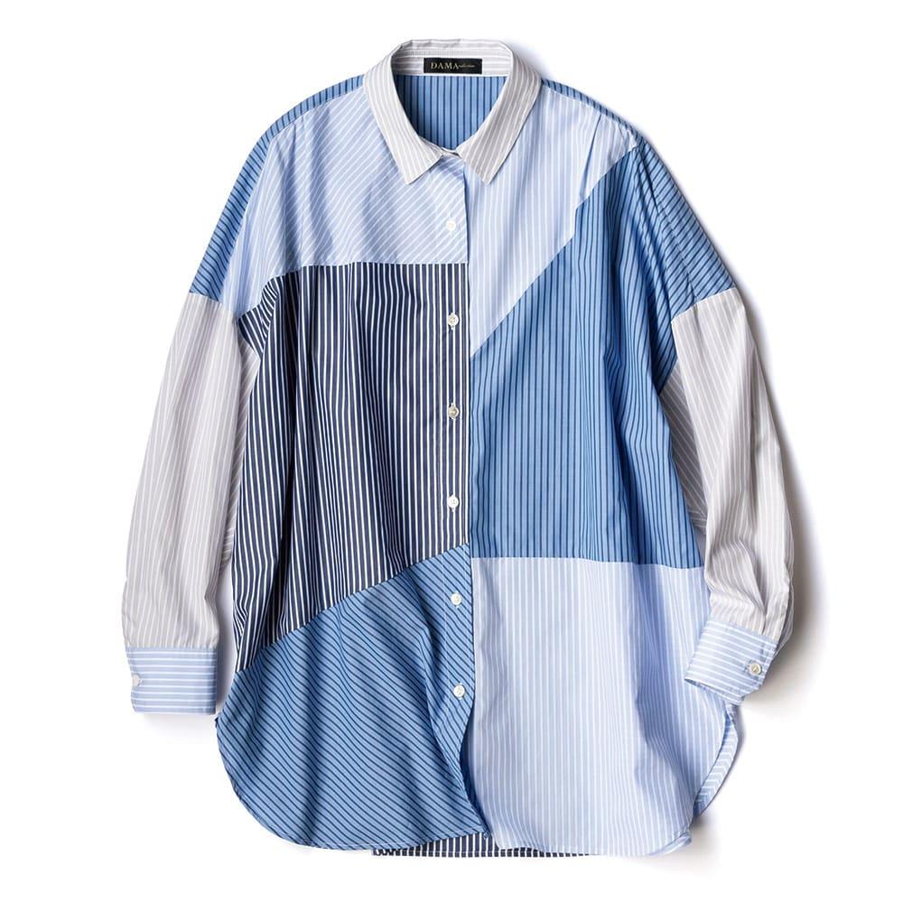 コットンローン ストライプ切り替え オーバーシャツ
